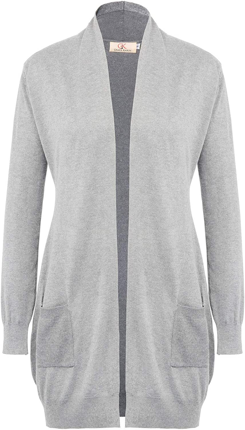 GRACE KARIN Womens Open Front Long Sleeve Cardigan Knit Sweater with Pockets
