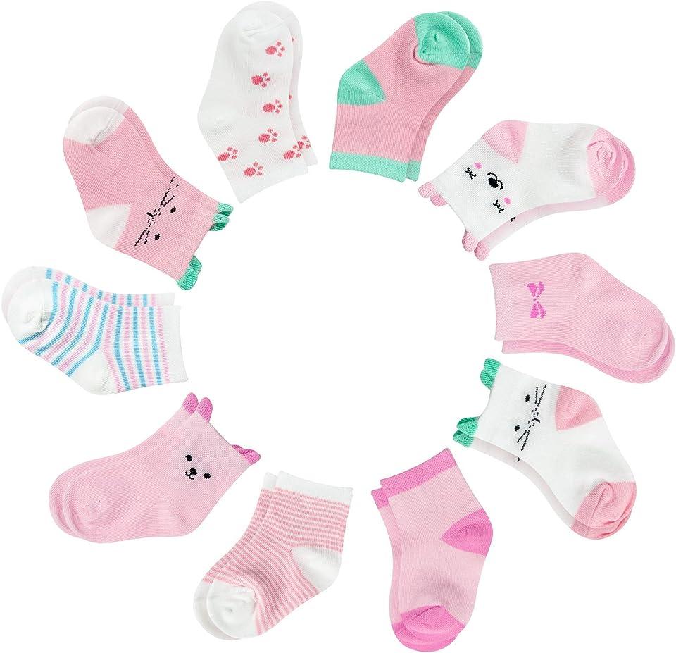 Baby Mädchen Socken, 10 Paar Kleinkind Mädchen Rutschfeste Socken mit Griffen,0-3 Jahre Baby Socken Mädchen Socken