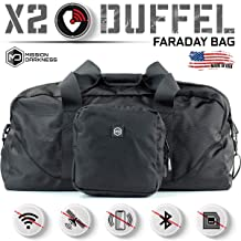 Mission Darkness X2 Faraday Duffel Bag + Detachable MOLLE Faraday Pouch. RF Shielding for Large Electronics & Mobile Devic...