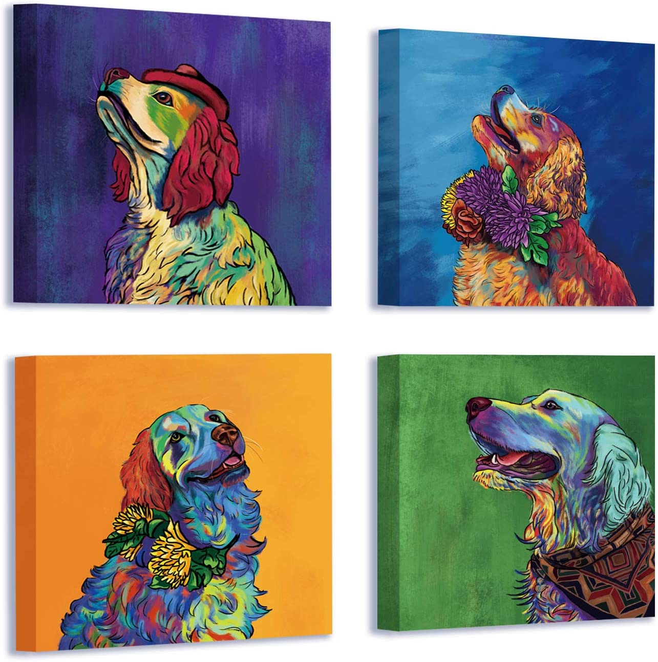 Canvas Wall Art Framed for Living Room Bedroom Colorful Dogs Painting Wall Decor Pictures Lightweight Ready to Hang 12x12 inch/piece, 4 Panels