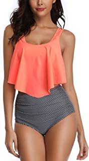 Women's High Waisted Bikini Bottoms Ruffled Tankini Swimsuits for Women