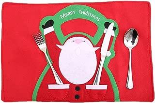 1 Set Christmas Cartoon Santa Claus Place Mat Vintage Kids Toddler Large Silicone Kitchen Food Plate Luxurious Popular Washable Vinyl Plastic Round Table Bowls Mats
