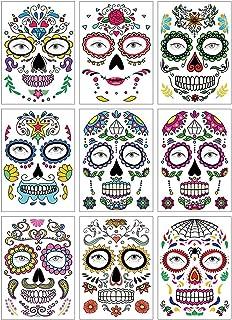 SlowTon Tatuajes Temporales para Día de los Muertos, Impermeables 9 Piezas Pegatinas Maquillaje de Calavera Facial para Ho...