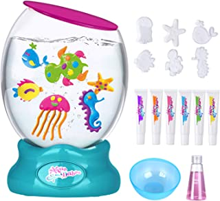 Kids Aquarium Toys, DIY Marine Animal Making Kits with Electric Fish Tank, Color Learning Education Gift for Child for 4,5,6,7,8,9,10 Boys and Girls (6 Model with Fish Tank)