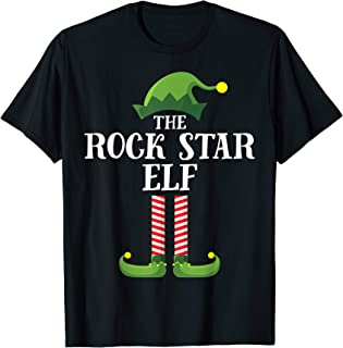 Rock Star Elf Matching Family Group Christmas Party Pajama T-Shirt