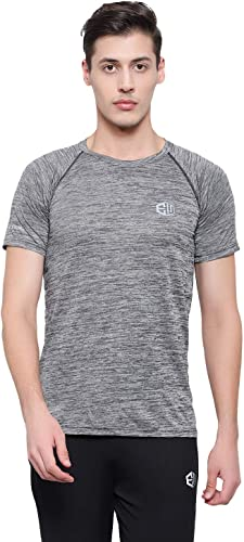 Round Neck Half Sleeves Slim Fit Polyester Casual Wear and Sports Wear Rapid Dry Men T Shirt