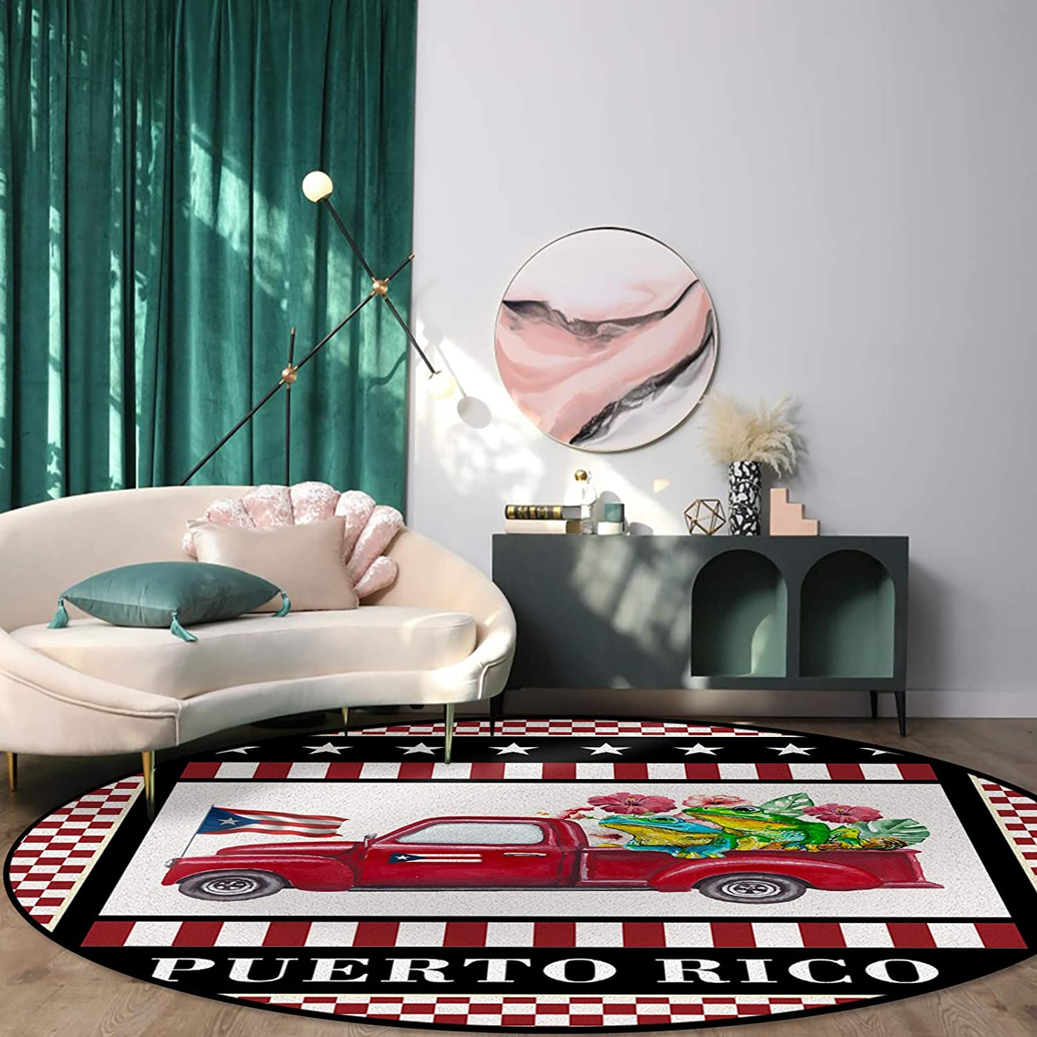Round Rug Superlatite for Dining Room Bedroom Truck Rico 2021new shipping free Fro Puerto Red with