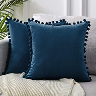 Top Finel Decorative Throw Pillow Covers 22 x 22 Inch Soft Solid Velvet Cushion Covers for Couch Sofa Bed 55 x 55 cm, Pack of 2, Navy Blue
