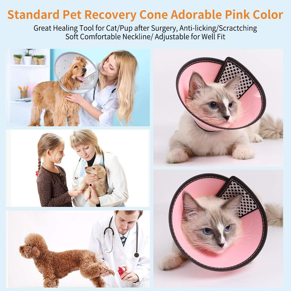 KITAINE Cat Cones After Surgery Recovery Soft-Rim Comfy Plastic Pet E-Collar for Cat Small Dog Rabbit Breathable Adjustable Cat Elizabeth Cone Collar Anti-Lick Wound Heal