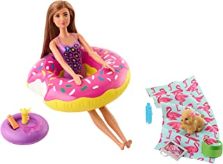 Barbie Outdoor Furniture Set with Donut Floatie (Really Floats), Water-Squirting Puppy Toy and 8 Themed Accessories