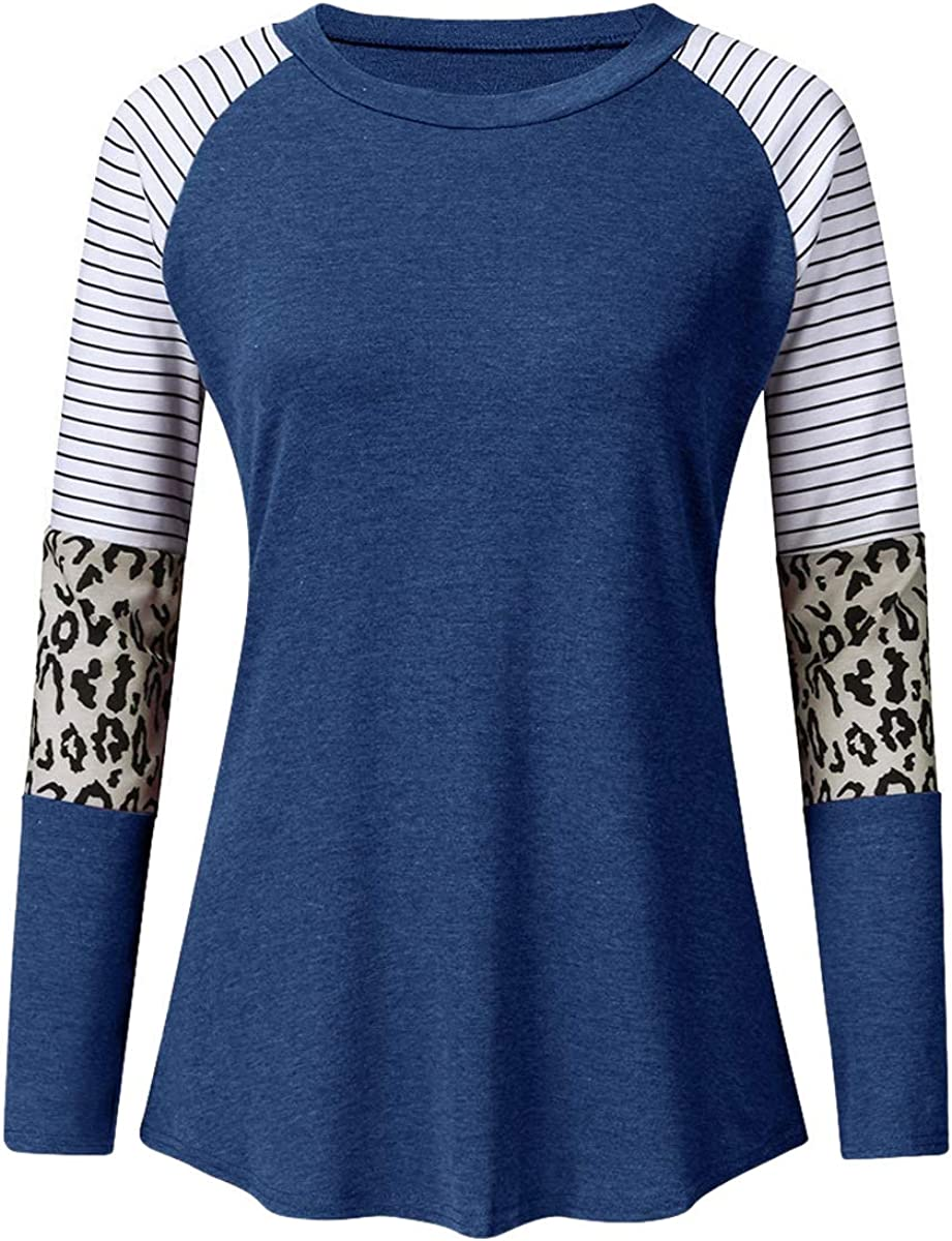 YEAQING Women Short//Long Sleeve Cotton T-Shirts V Neck Contrast Leopard Print Pockets Regular Fit Tunic Tee Blouse Top