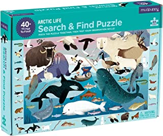 """Mudpuppy Arctic Life Search & Find Puzzle, 64 Pieces, 23""""x15.5"""" – for Kids Age 4-7 - Colorful Illustrations of Whales, Polar Bears, and Other Polar Animals – Complete Puzzle to Find 40+ Hidden Images"""