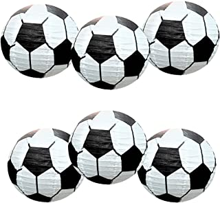 UNIQOOO 6Pcs Premium 12'' Soccer Football Paper Lantern Set, Reusable Hanging Decorative Japanese Chinese Paper Lanterns, Easy Assemble,Sports Fan Game FIFA World Cup Soccer Ball Party Bar Decorations
