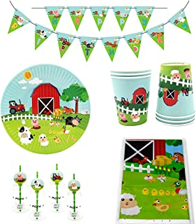 50 Piece Farm Animals Pig Cow Sheep Tractor Theme Party Supplies, Kids Birthday Party Decoration Tableware Pack, Including Banner, Plate, Cup, Straw, Table cover, Serves 12 Guests