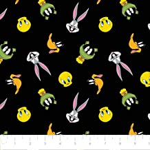 Looney Tunes Tossed Faces in Black from Camelot 100% Premium Quality Cotton Fabric by The Yard