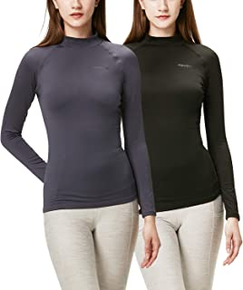 Women's 2 Pack Thermal Heat-Chain Compression Baselayer Tops Mock Turtleneck Long Sleeve T-Shirts