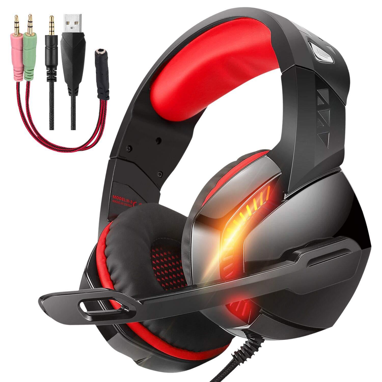 PHOINIKASステレオサラウンドゲーミングヘッドセットPCゲーミングヘッドセット(マイク付きヘッドセット)USBヘッドセット有線ヘッドセット3.5mm高品質ノイズリダクションヘッドセットイヤーマフヘッドセットFPSコンピュータゲーム対応ps4(レッド)