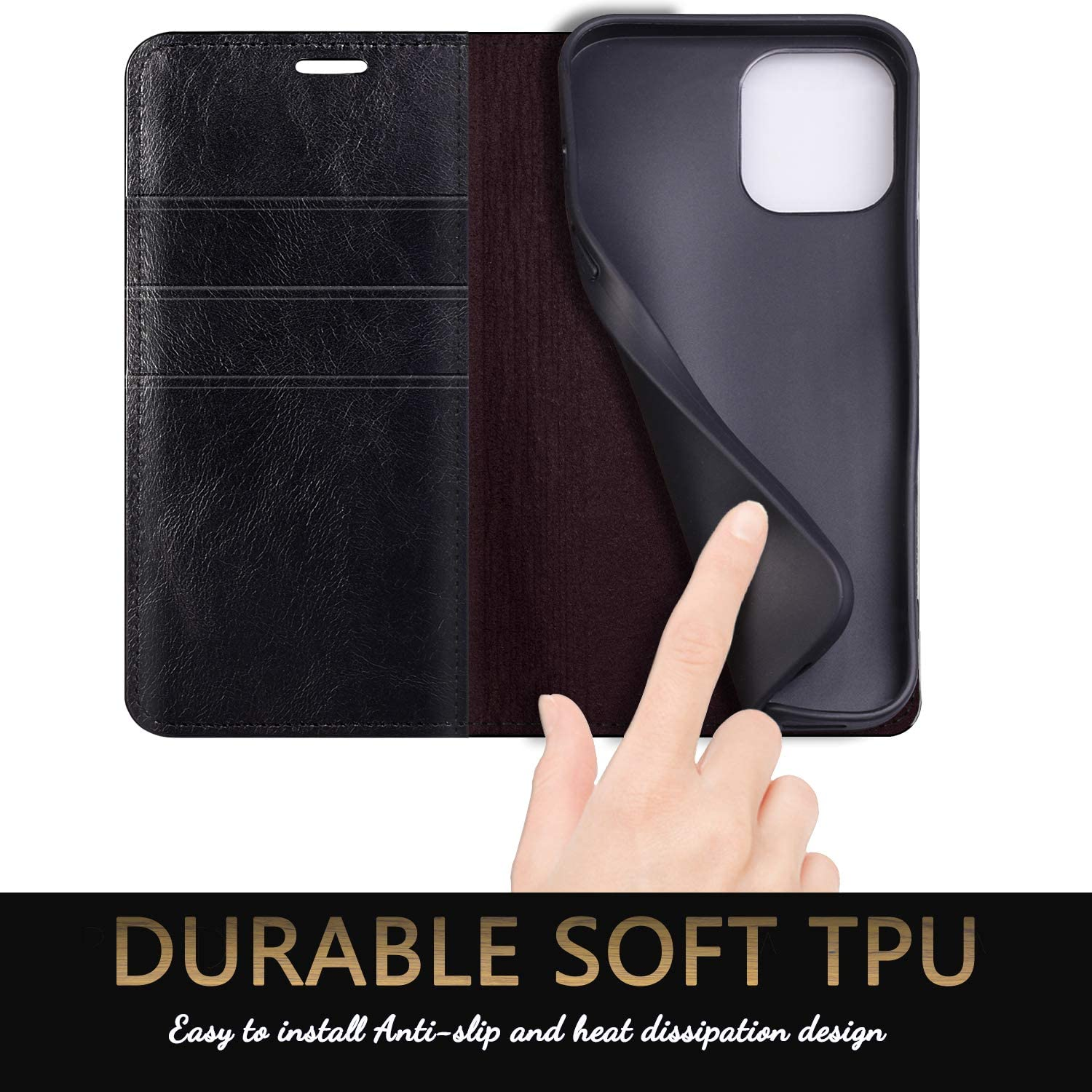 SUANPOT for iPhone 12/12 Pro Genuine Leather Wallet case with RFID Blocking Credit Card Holder Flip Folio Book 2020 Cell Phone 5G case for Apple 12 Pro Real Leather case for Men Women 6.1 Black