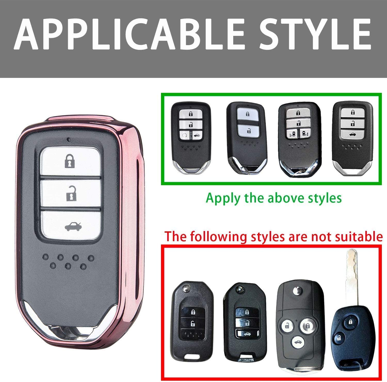 Pink Key Fob Case for Honda Accord Civic CRV Pilot Odyssey Smart Premium Soft TPU Full Cover Protection Smart Remote Keyless Key Fob Shell N//A Suit for Honda Key Fob Cover
