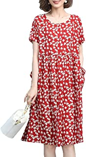 Women's Summer Floral Print Dresses Casual Beach Short Sleeve Swing Pockets Dresses غير رسمي (Color : Red, Size : M)