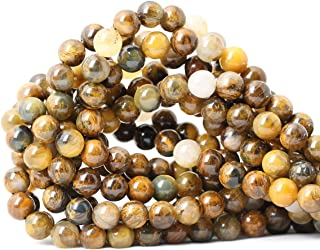 CHEAVIAN 45PCS 8mm Natural Golden Pietersite Gemstone Round Loose Beads Stone Beads for Jewelry Making DIY Findings 1 Strand 15