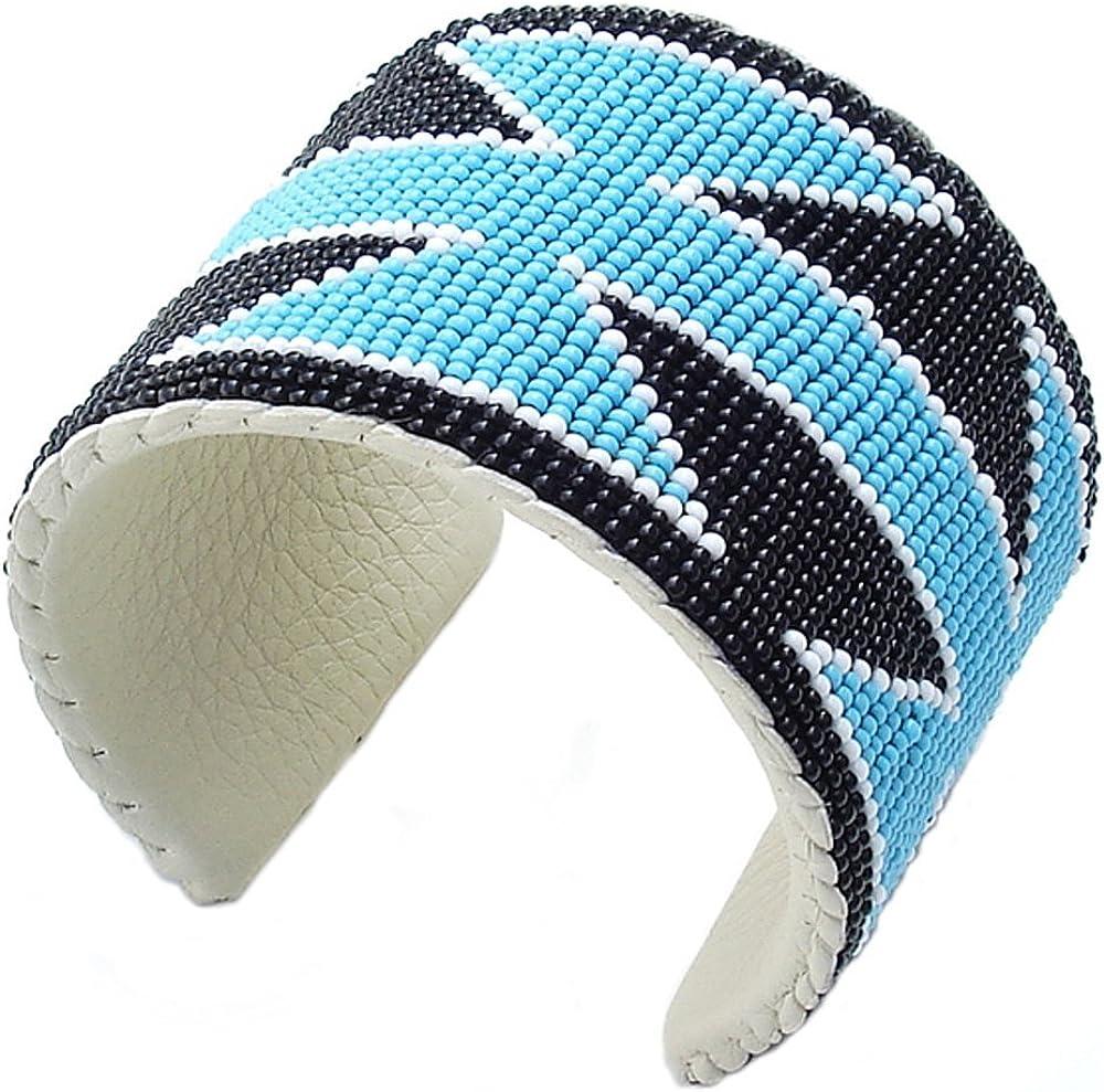 Handmade Turquoise Blue Tree Bead work Beaded Cuff Bracelet Unisex Cowboy Western B40/6