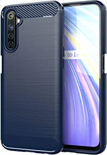 for OPPO Realme 6S Case Brushed Carbon Fiber Texture Style Ultra-thin TPU Soft rubber Anti-drop Protective Cover-Blue