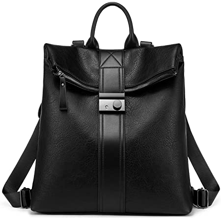 Realer Rucksack Damen, Elegant Rucksacktasche Rucksackhandtasche 2 in 1, Wasserdichte Handtasche als Rucksack Lederrucksack cityrucksack Schwarz