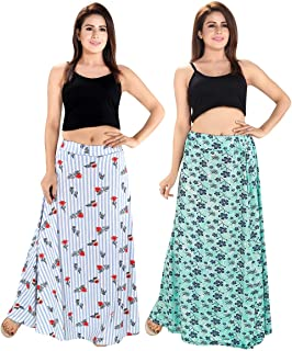 TUCUTE® Women's Sarina Printed Long Skirt Bottom (Free Size) (Pack of 2 Pcs) Smart Combo.