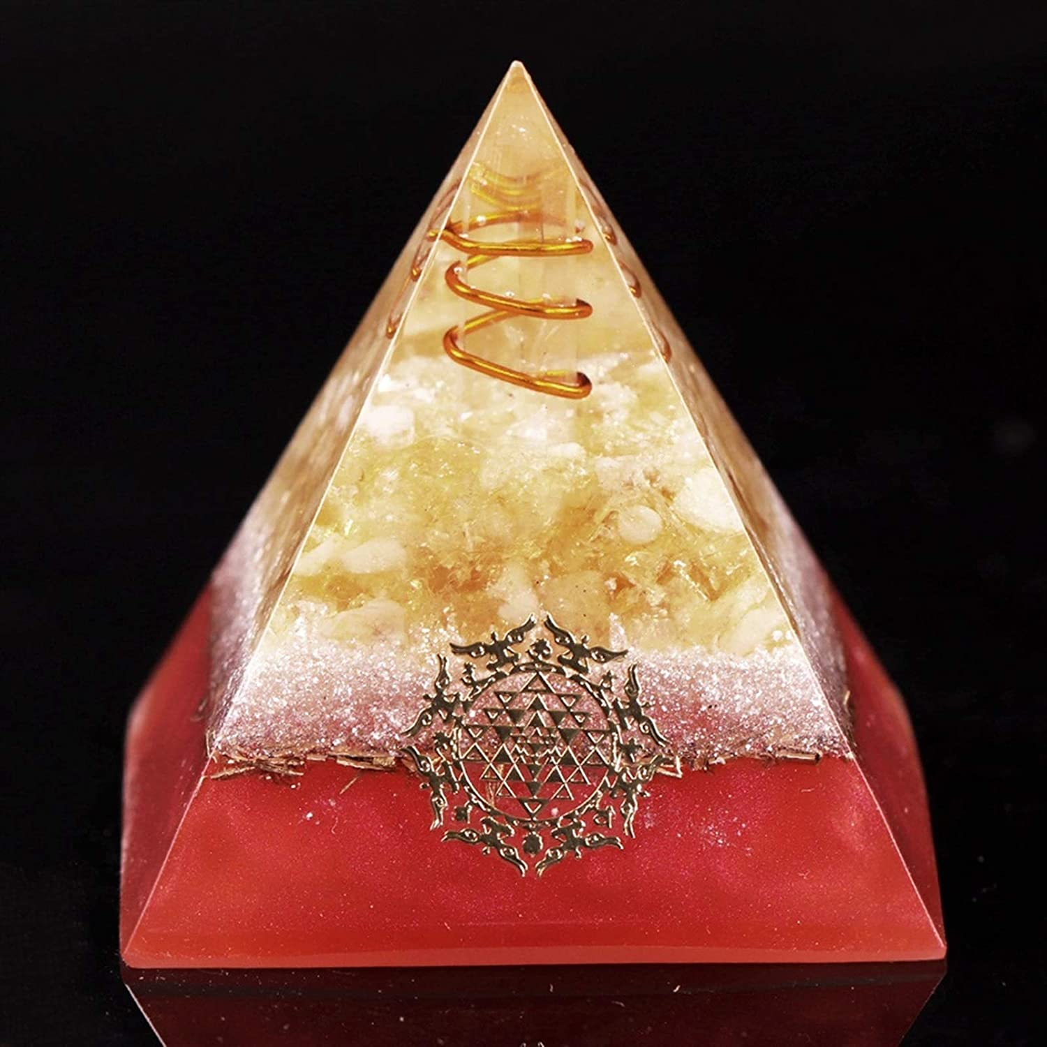 At the free shipping price of surprise YELVQI Natural Citrine Orgone Pyramid Chakra Crystal Reiki Stone