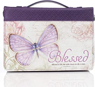 """Purple Botanic Butterfly Blessings """"Blessed"""" Bible / Book Cover - Jeremiah 17:7 (Large)"""