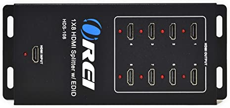 Orei 1x8 8 Ports HDMI Powered Splitter by OREI for Full HD 1080P 4K @ 30Hz & 3D Support (One Input To Eight Outputs), Mode...