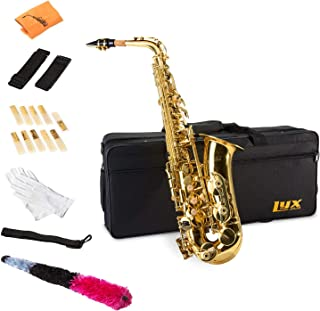 LyxJam Alto Saxophone - E Flat Brass Sax Beginners Kit, Mouthpiece, Neck Strap, Cleaning Cloth Rod, Gloves, Cork Grease, Hard Carrying Case w/ Removable Straps, Maintenance Guide - 10 BONUS Reeds (C