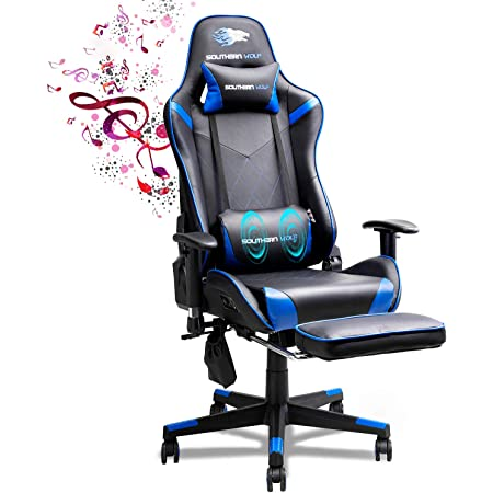 SOUTHERN WOLF Sedia Gaming, Sedia da Gaming con Massaggio, Poltrona Ergonomica Sedie da Gaming Girevole con Bluetooth, Poltrona Gaming con Poggiapiedi, Altezza Regolabile e Supporto Lombare