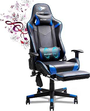 SOUTHERN WOLF Chaise Gaming, Jeu Chaise avec Bluetooth, Bureau Fauteuil avec Fonction de Massage, Ergonomie Chaise de confére