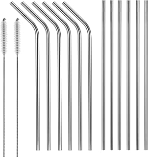 Set of 12 Stainless Steel Drinking Straws,X-Chef 10.5'' Drinking Metal Straws For 20 30oz Tumblers Cups Mugs Yeti Rambler Rtic Ozark Trail Cold Beverage