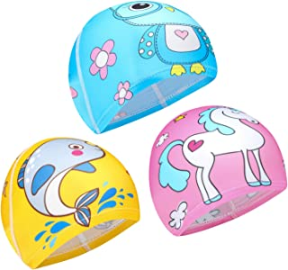 Qkurt 3pcs Cloth Swimming Caps, Cartoon Swimming Hats Bathing Cap Elastic Swimming Cap for Age 6-10 Girls and Boys