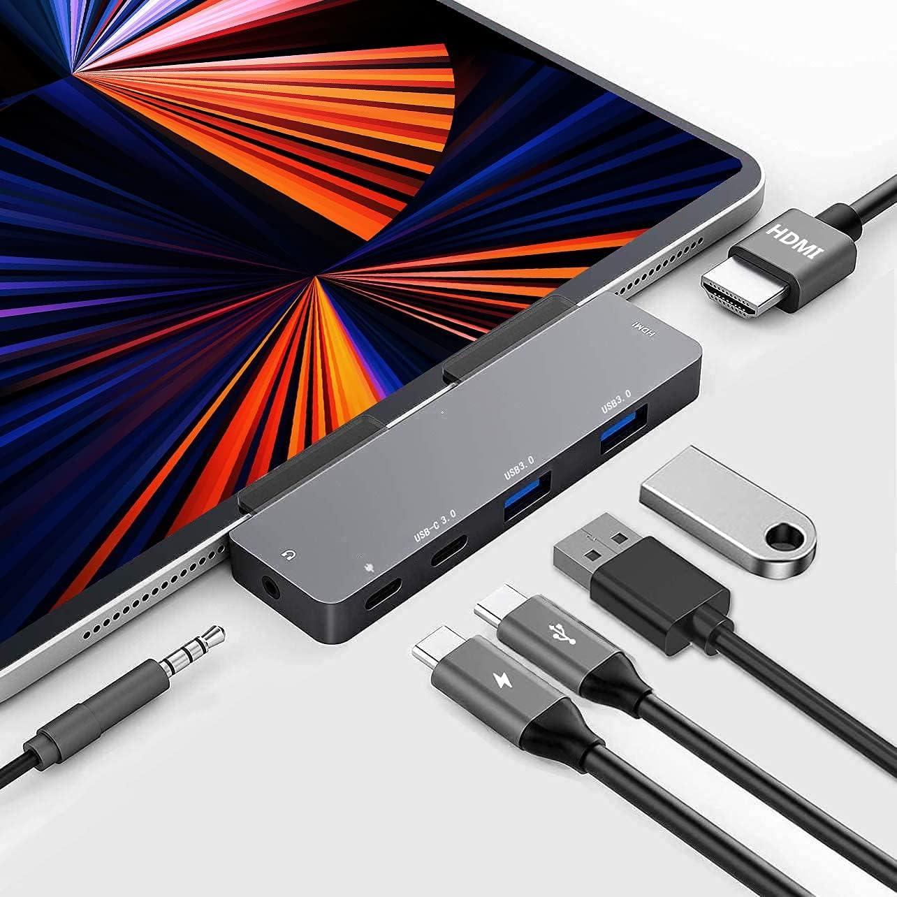 USB C Hub for iPad Pro - 6 in 1, Accessories for iPad Pro 2021 2020 2018 Multiport Adapter, 2 USB 3.0, 4K HDMI, 3.5mm Headphone Jack, USB C Data Port, 60W PD