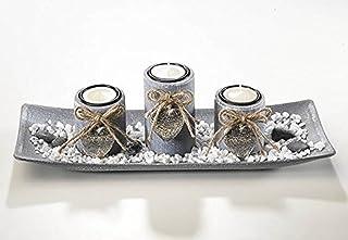 Cuenco decorativo de madera con tres velas