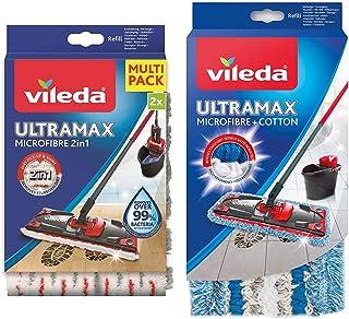 Vileda Recharge Ultramax Power 2en1 - Lot de 2 & Housse Micro & Coton pour Balai àPlat Ultramax, 120g
