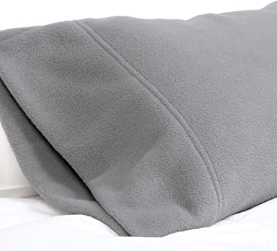SHEEX Fleece Performance Travel Pillowcase, Pewter