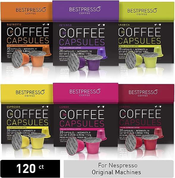 Bestpresso Coffee For Nespresso Original Machine 120 Pods Certified Genuine Espresso Variety Pack Pods Compatible With Nespresso Original