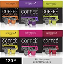 Bestpresso Coffee for Nespresso Original Machine 120 pods Certified Genuine Espresso Variety Pack, Pods Compatible with Nespresso Original