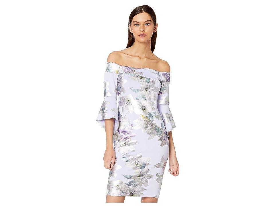 Bebe Off Shoulder Trumpet Sleeve Bodycon Print Dress (Lavender/Multi) Women