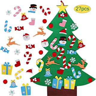 SINGARE Felt Christmas Tree,Wall Hanging Xmas DIY Christmas Tree with 27 Pcs Detachable Ornaments for Toddlers Kids
