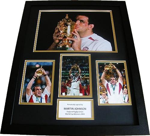 Sportagraphs Martin Johnson Hand Signed & Framed Huge Photo Mount Display England Rugby COA