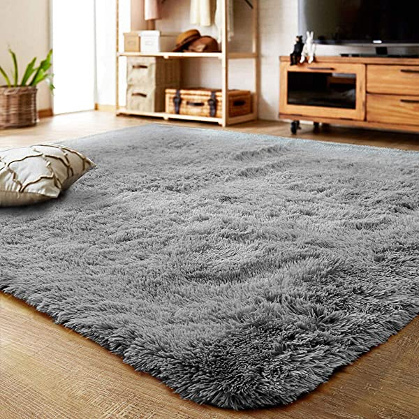 LOCHAS Ultra Soft Indoor Modern Area Rugs Fluffy Living Room Carpets Suitable For Children Bedroom Home Decor Nursery Rugs 4 Feet By 5 3 Feet Gray
