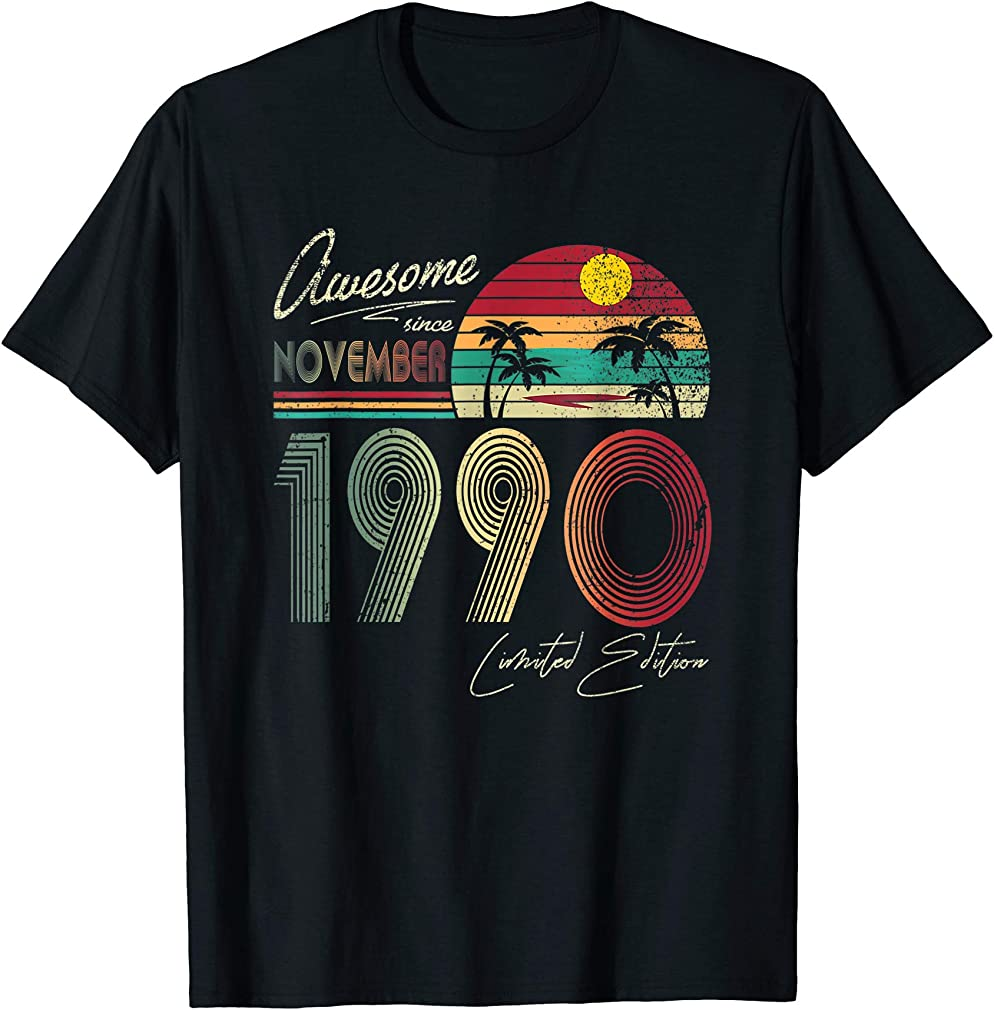 Awesome Since November 1990 29th Birthday Gift 29 Yrs Old T-shirt