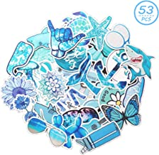 MSOLE 53PCS Blue Cute Waterproof Big Vsco Stickers for Water Bottles Laptop HydroFlasks Aesthetic Trendy Decals for Mac Computer Phone Guitar for Kids Teen Girls