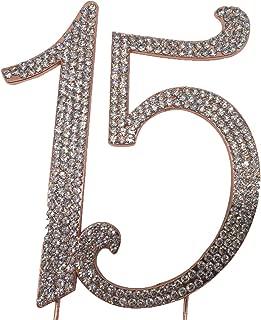 Number 15 birthday cake topper - quinceañera decoration - Sparkling rhinestones - Premium metal quality